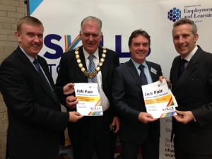 Social Development Minister Mervyn Storey, Ballymoney Mayor Bill Kennedy, Damien McAdams from the Department for Employment and Learning and North Antrim MP Ian Paisley