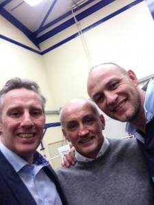 North Antrim MP Ian Paisley, former World Champion Barry McGuigan and Braid Boxing Club Head Coach John McLeister during Barry's visit to the Club last week